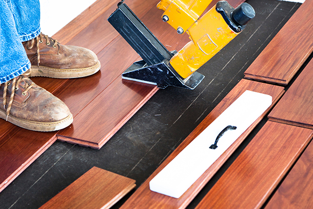 Solid Hardwood Flooring Can Be Glued, Nailed Or Stapled To A Wood Subfloor.  These Types Of Installations Are Best Left To The Pros, Since They Can  Challenge ...